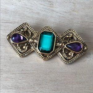Vintage elegant beautiful brooch, gold tone gems